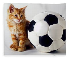 Orange And White Kitten With Soccor Ball Fleece Blanket