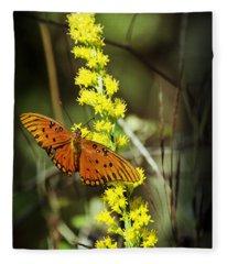 Orange Butterfly On Yellow Wildflower Fleece Blanket