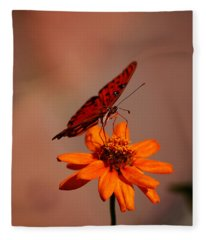 Orange Butterfly Orange Flower Fleece Blanket