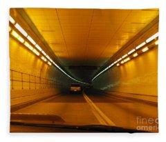 Orange Tunnel In Dc Fleece Blanket
