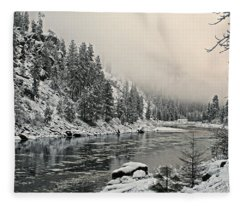 Orofino Snow Clearwater River Fleece Blanket
