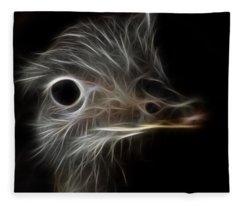 Ostrich Fractalius Fleece Blanket