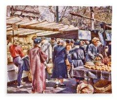 Parisian Market 1954 Fleece Blanket