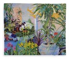 Patio With Flowers Fleece Blanket