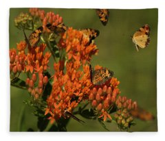 Pearly Crescentpot Butterflies Landing On Butterfly Milkweed Fleece Blanket