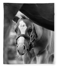 Peek'a Boo - Black And White Fleece Blanket