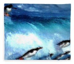 Penquin Play Fleece Blanket