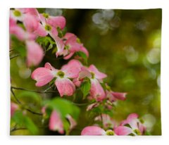 Pink Dogwood Blooms Fleece Blanket