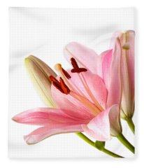Pink Lilies 06 Fleece Blanket