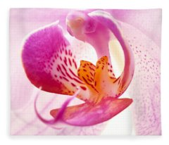 Pink Phalaenopsis Fleece Blanket