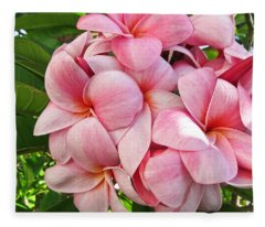 Pink Plumerias Fleece Blanket