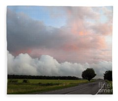 Pink Sunset And The Avalanche Of Clouds. Lithuania Fleece Blanket