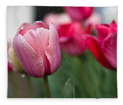 Pink Tulips With Water Drops Fleece Blanket