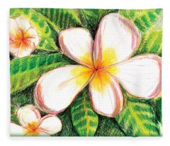 Plumeria With Foliage Fleece Blanket