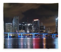 Port Of Miami Downtown Fleece Blanket