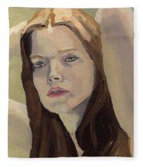 Portrait Of Ashley Fleece Blanket