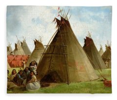 Prairie Indian Encampment Fleece Blanket
