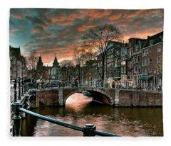 Prinsengracht And Reguliersgracht. Amsterdam Fleece Blanket