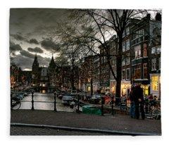 Prinsengracht And Spiegelgracht. Amsterdam Fleece Blanket