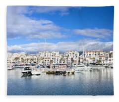Puerto Banus Marina On Costa Del Sol Fleece Blanket