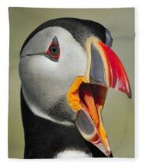 Puffin Portrait Fleece Blanket