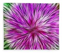 Purple Flower Fractal Fleece Blanket