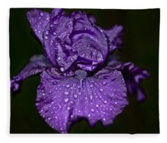 Purple Iris With Water Drops Fleece Blanket