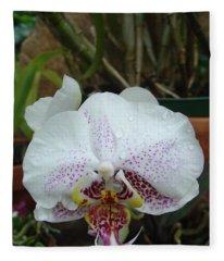 Rain Drops On Orchid Fleece Blanket