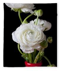 Ranunculus In Red Vase Fleece Blanket