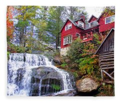 Red House By The Waterfall 2 Fleece Blanket