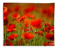 Red Poppy Flowers 02 Fleece Blanket