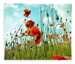 Red Poppy Flowers 03 Fleece Blanket