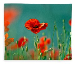 Red Poppy Flowers 06 Fleece Blanket