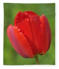Red Tulip Green Background Fleece Blanket