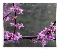 Redbud With Webs And Dew Fleece Blanket