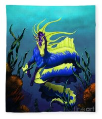 Ribbon Hippocampus Fleece Blanket