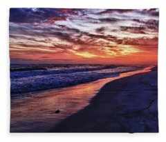 Romar Beach Sunset Fleece Blanket