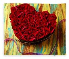 Rose Heart And Ribbon Fleece Blanket