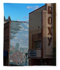 Roxy Theater And Mural Fleece Blanket