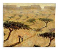 Sahelian Landscape Fleece Blanket