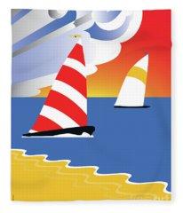 Sailing Before The Wind Fleece Blanket
