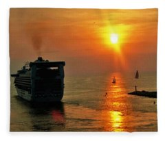 Sailing Into The Sunset Fleece Blanket
