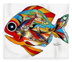 Seven Fish Fleece Blanket