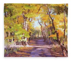 Shady Path At Fall In The Woods Fleece Blanket