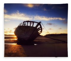 Shipwreck At Sunset, Co Donegal, Ireland Fleece Blanket