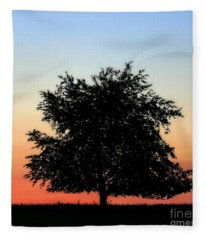 Make People Happy  Square Photograph Of Tree Silhouette Against A Colorful Summer Sky Fleece Blanket