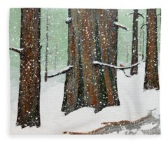 Snowy Redwood Fleece Blanket