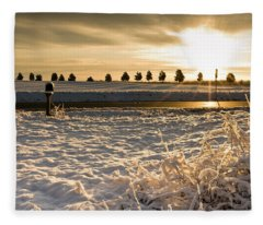Snowy Sunrise Fleece Blanket