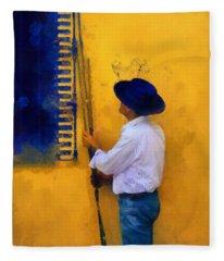 Spanish Man At The Yellow Wall. Impressionism Fleece Blanket