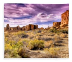 Spring Rain At Chaco Canyon Fleece Blanket